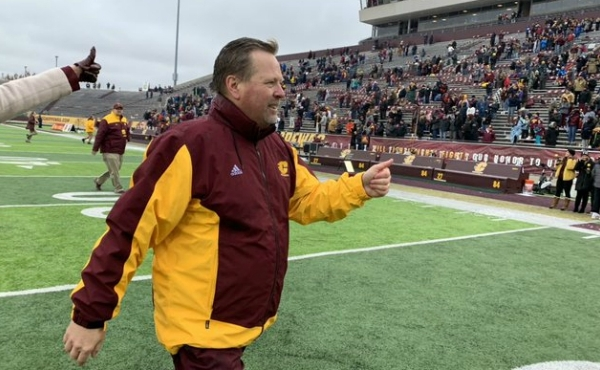 Central Michigan University Football Coach Jim McElwain after the Chippewas win the Mid-American Conference West Division title on Nov. 29, 2019.
