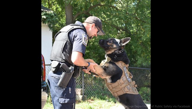 Portage Department of Public Safety Officer Jordan Wentworth and K-9 Officer Zorro. (Portage Department of Public Safety via Facebook)