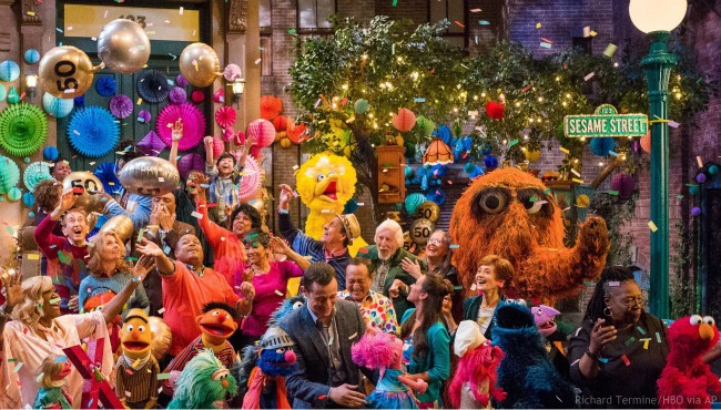 "This image released by HBO shows the cast of ""Sesame Street"" during a celebration of their 50th season of the popular children's TV show. (Richard Termine/HBO via AP)"