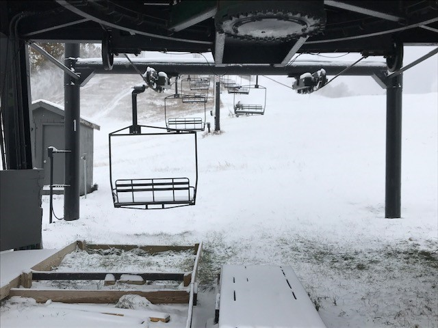 A photo of ski lifts at Cannonsburg Ski Area on Nov. 13, 2019.