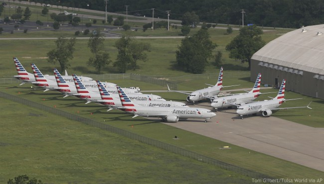 In a May 24, 2019 aerial photo, American Airlines 737 Max are stored at Tulsa International Airport. (Tom Gilbert/Tulsa World via AP)