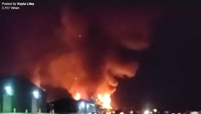 A screenshot from a Facebook video of a fire in Montcalm County on Dec. 7, 2019.