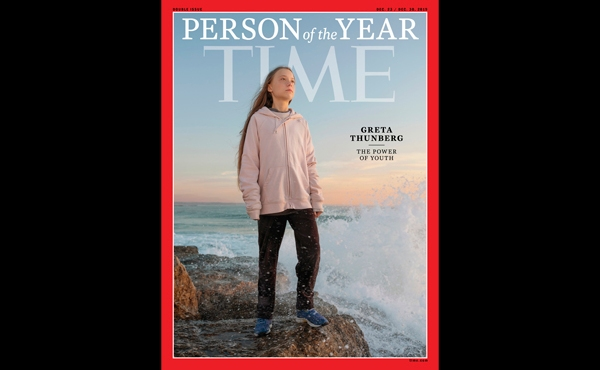 """This photo provided by Time magazine shows Greta Thunberg, who has been named Time's youngest """"person of the year"""" on Wednesday, Dec. 11, 2019."""