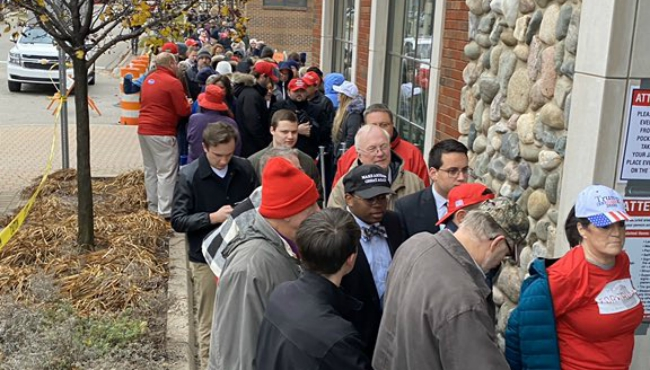 Folks line up in Holland to see Vice President Mike Pence speak on Dec. 4, 2019.