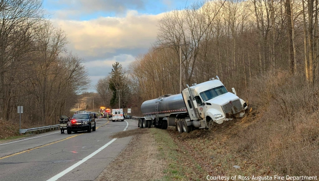 A photo of the crash in Ross Township on Dec. 6, 2019. (Courtesy of the Ross-Augusta Fire Department)