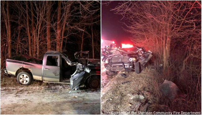 A collage of a Montcalm County crash on Dec. 16, 2019. (Courtesy of the Sheridan Community Fire Department)