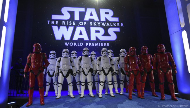 "Stormtroopers pose at world premiere of ""Star Wars: The Rise of Skywalker"" on Monday, Dec. 16, 2019, in Los Angeles (AP Photo/Chris Pizzello)"