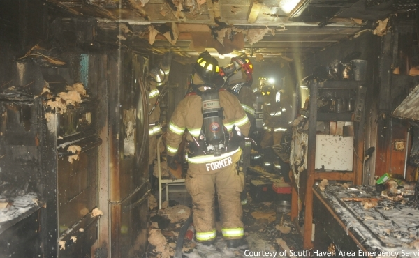 A home in Bangor Township was heavily damaged in a fire on Jan. 21, 2020. (Courtesy of South Haven Area Emergency Services)