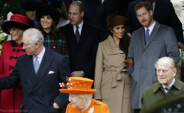 In this Monday, Dec. 25, 2017 file photo, front from left, Prince Charles, Queen Elizabeth II and Prince Philip. Rear From left, Camilla, Duchess of Cornwall, Kate, Duchess of Cambridge, Price William, Meghan Markle, and her fiancee Prince Harry, following the traditional Christmas Day church service, at St. Mary Magdalene Church in Sandringham, England. (AP Photo/Alastair Grant, file)