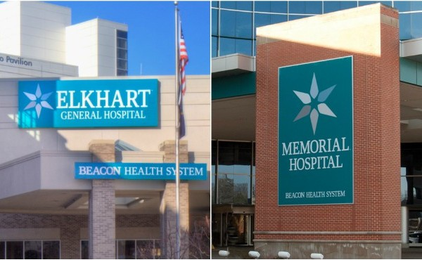Undated courtesy photos of, left to right, Beacon Health System's Elkhart General and Memorial hospitals.