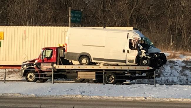 A photo of a crash in Kalamazoo County on Jan. 21, 2020.
