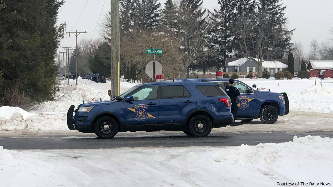 A photo of a standoff on Miller Road near Muskrat Road in Sidney Township. (Courtesy of The Daily News)