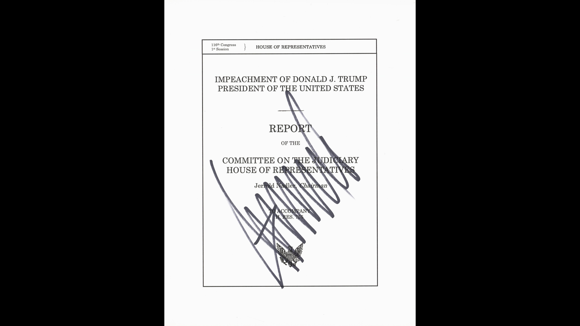 A photo of printed off articles of impeachment signed by President Donald Trump during a Battle Creek rally on Dec. 18, 2019. (Courtesy of Goldin Auctions)
