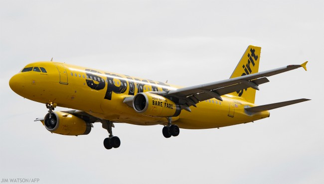 An Airbus 320 operated by Spirit Airlines approaches for landing at Baltimore Washington International Airport near Baltimore, Maryland on March 11, 2019. (Photo by Jim WATSON / AFP)