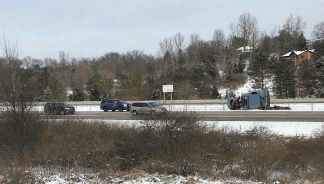 A semi-truck crashed in the median of I-96 in Cascade Township Friday, Feb. 7, 2020. (Michigan State Police/Twitter)