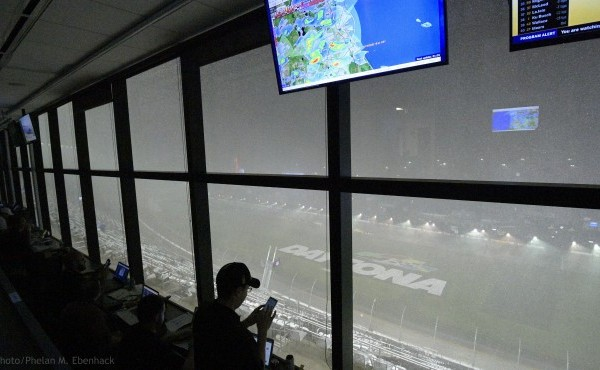 A downpour, as viewed from the press box, forces a postponement of the NASCAR Daytona 500 auto race at Daytona International Speedway, Sunday, Feb. 16, 2020, in Daytona Beach, Fla. (AP Photo/Phelan M. Ebenhack)