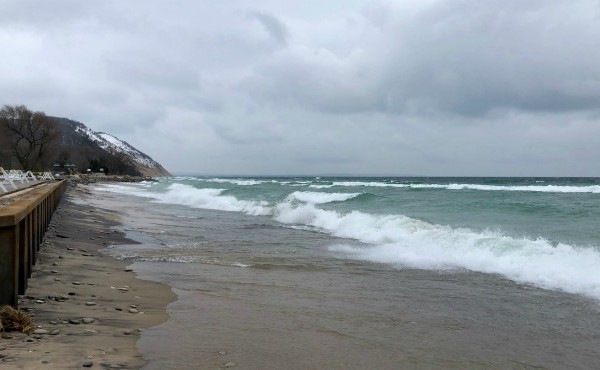 A record-high Lake Michigan closes in on a newly-built seawall in Empire, Mich. (Feb. 1, 2020)