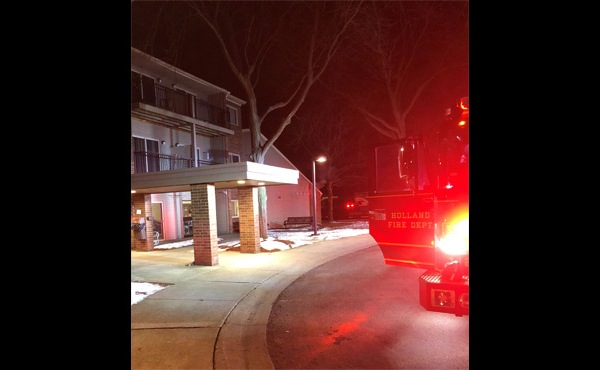 Authorities on the scene of a fire at an apartment in Holland Thursday, Feb. 20, 2020. (Holland Department of Public Safety)