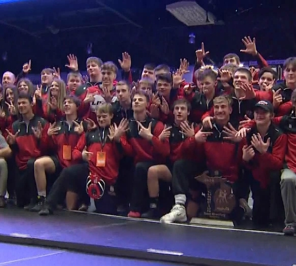 Lowell wrestling team after winning their seventh consecutive team state championship. (Feb. 29, 2020)