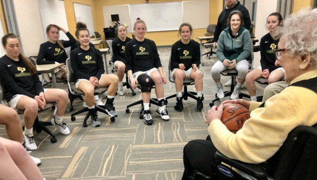 Former player, 104-year-old Madelyn Klenk, was the special guest at the senior night for the Comstock Park High School Girls Basketball team. (Feb. 28, 2020)