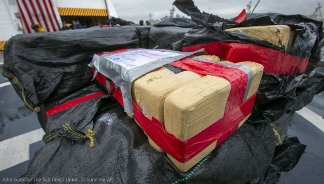 The crew of the Coast Guard Cutter Munro offloaded 20,000 pounds of uncut cocaine seized from known drug-transit zones of the Eastern Pacific Ocean worth approximately $338 million at Naval Station San Diego on Monday, Feb. 10, 2020. (John Gibbins/The San Diego Union-Tribune via AP)