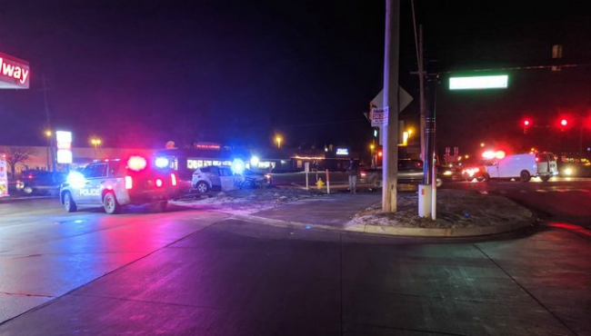A photo of a crash on Alpine Avenue and 3 Mile Road in Walker on Feb. 7, 2020.