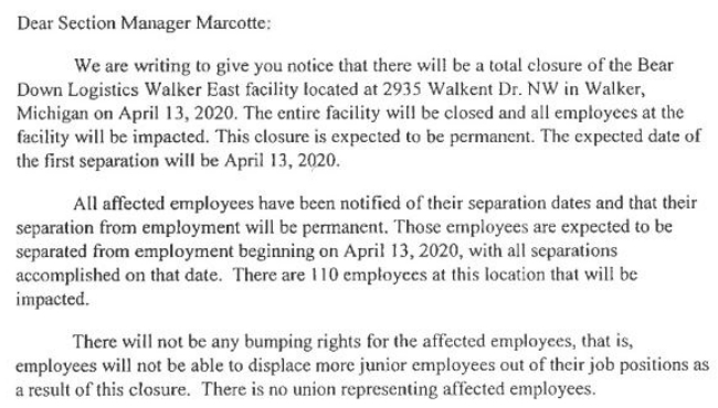 A screenshot of a WARN notice that Bear Down Logistics in Walker is closing.