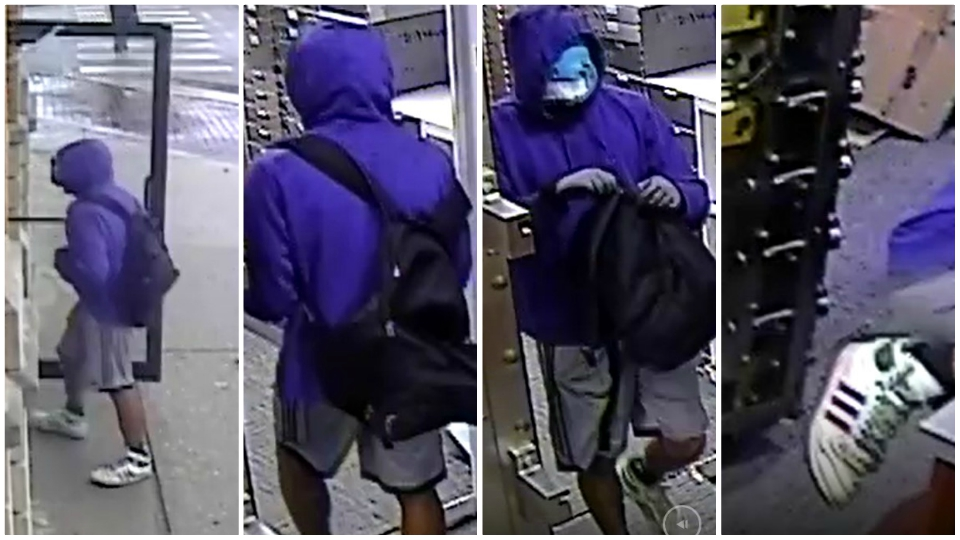 A collage of surveillance photos of a suspect in a Cedar Springs bank robbery on Oct. 16, 2019.