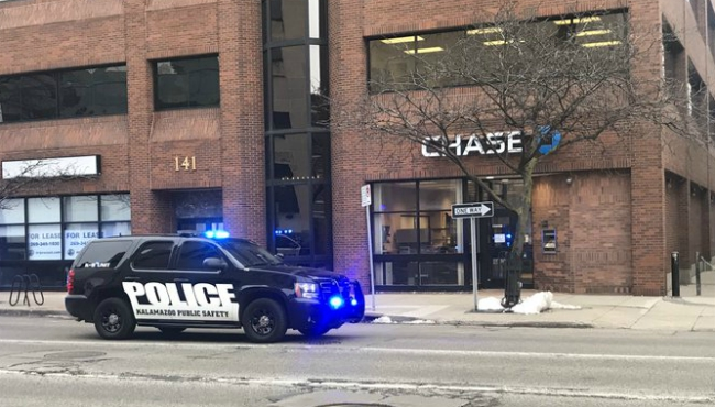 The Chase Bank in downtown Kalamazoo was robbed on Feb. 12, 2020.