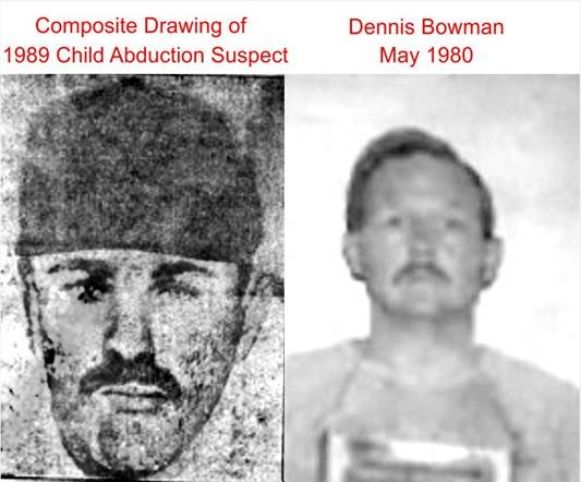 On the left is a composite drawing of suspect in a 1989 child abduction in Ottawa County. On the right is a booking photo of Dennis Bowman in 1980.