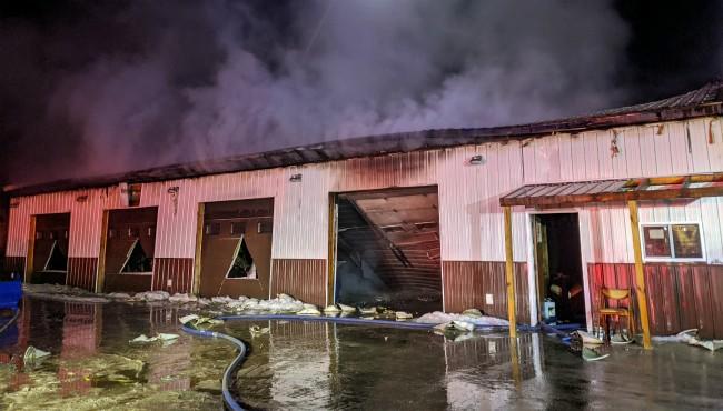 Authorities respond to a fire at Mim's Furniture in Van Buren County Monday, Feb. 2, 2020. (Bangor Community Fire Department)