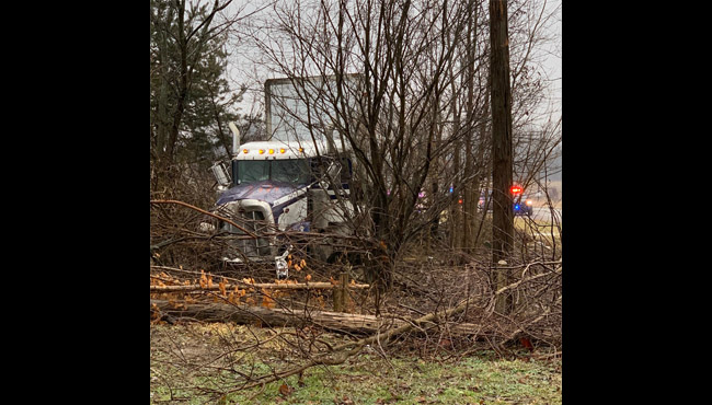 Authorities on scene of a semi-truck crash in Branch County Monday, March 2, 2020. (Branch County Sheriff's Office)