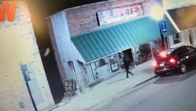 Surveillance photo of a burglary at the Al and Pete's Sport Shop in Hastings on March 27, 2020.