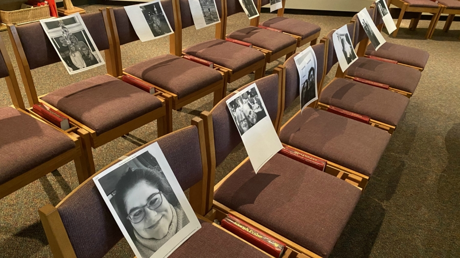 Photos of parishioners in the pews at Holy Spirit Parish in Grand Rapids. (March 19, 2020)