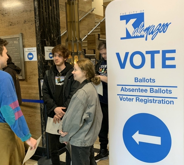 Voters waited in long lines at the Kalamazoo city clerk's office during the March 10, 2020 election
