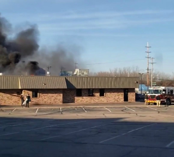 A photo of grease fire at Mr. Burger in Plainfield Township on March 7, 2020.