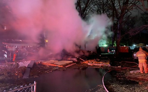 Authorities investigating a house explosion in Muskegon Heights Tuesday, March 17, 2020.