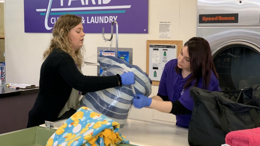 Workers at Paris Cleaners and Laundry in Portage. (March 20, 2020)