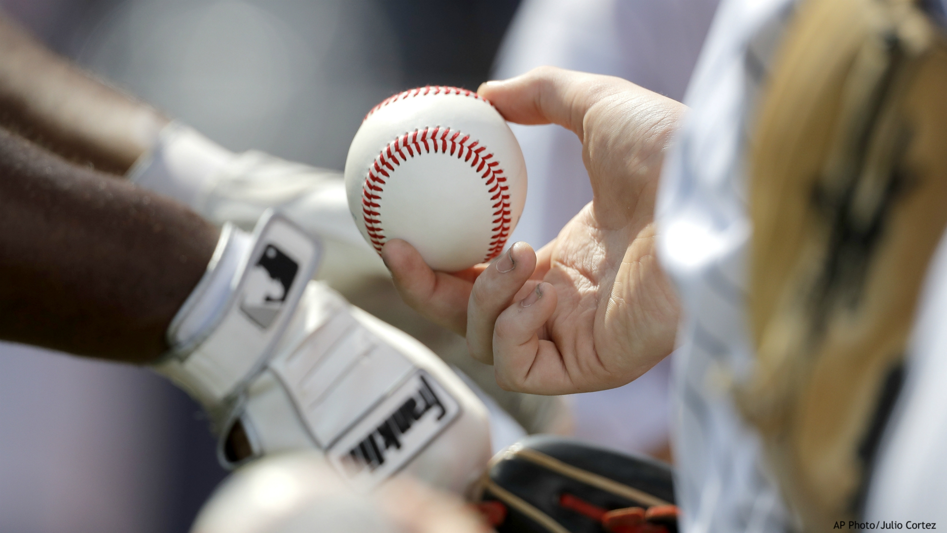 A fan holds a baseball while waiting for an autograph fro New York Yankees infielder Chris Gittens prior to a spring training baseball game against the Washington Nationals, Thursday, March 12, 2020, in West Palm Beach, Fla. (AP Photo/Julio Cortez)