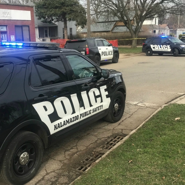 A photo of a fatal shooting on Jackson Street in Kalamazoo on March 27, 2020.