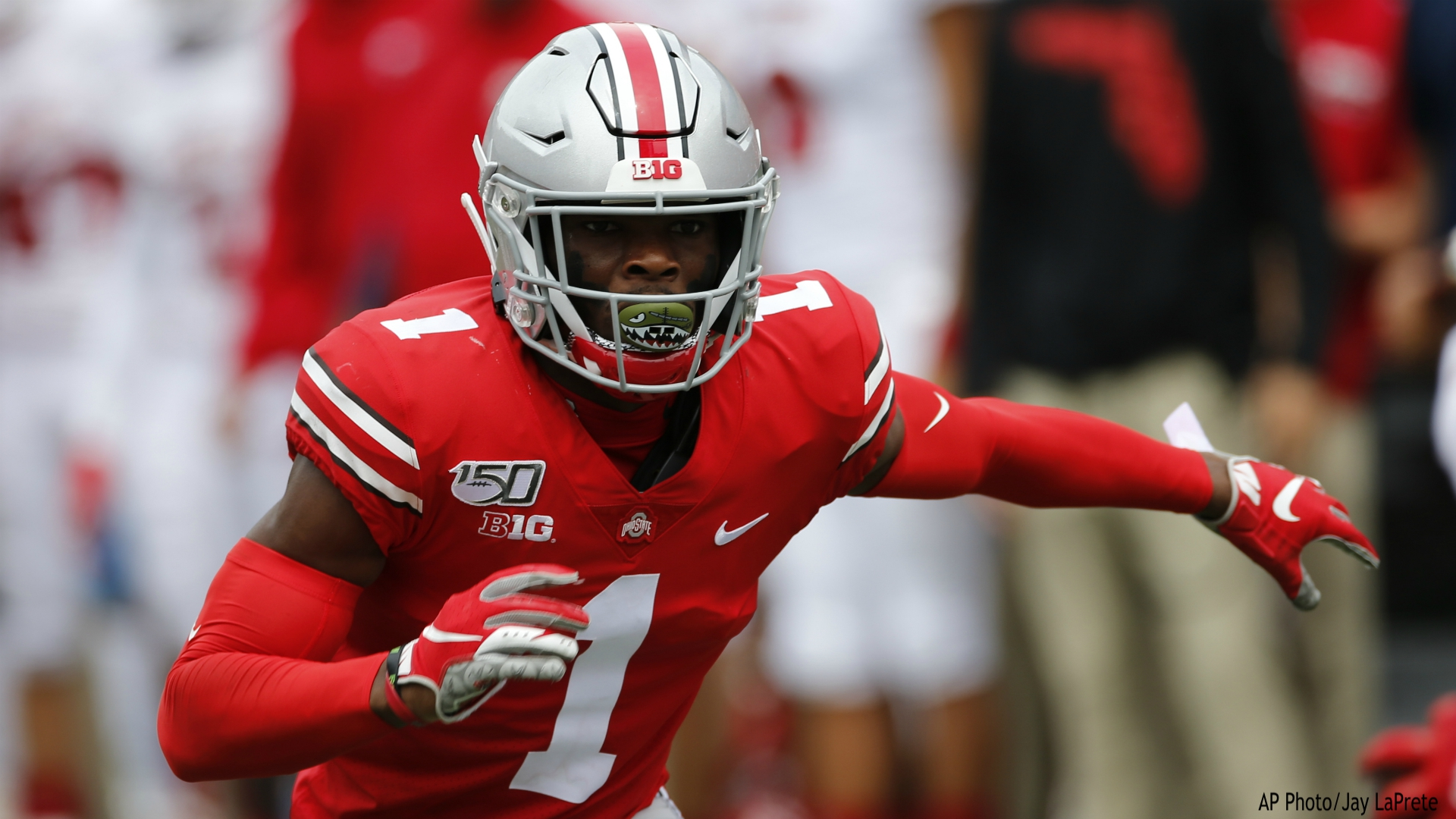 FILE - This is an Aug. 31, 2019, file photo showing Ohio State defensive back Jeff Okudah playing against Florida Atlantic in an NCAA college football game in Columbus, Ohio. Okudah is a possible pick at the NFL Draft which runs Thursday, April 23, 2020, thru Saturday, April 25. (AP Photo/Jay LaPrete, File)