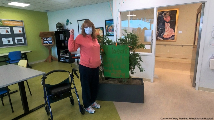 Courtesy photo of Nancy Blodgett, who has recovered from COVID-19, leaving Mary Free Bed Rehabilitation Hospital on April 24, 2020.