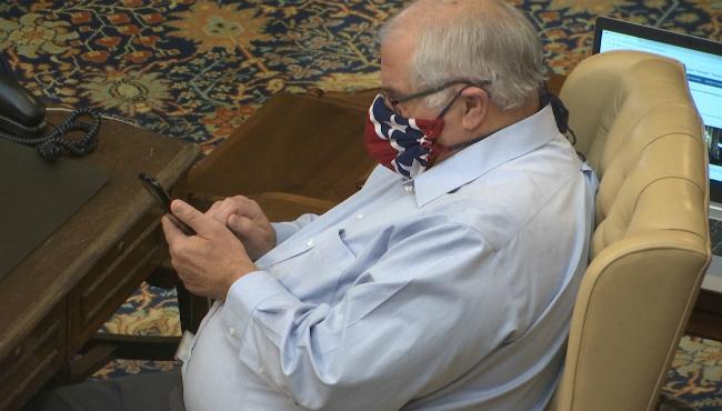 State Sen. Dale Zorn wearing a mask on April 24, 2020. (Courtesy of WLNS-TV)