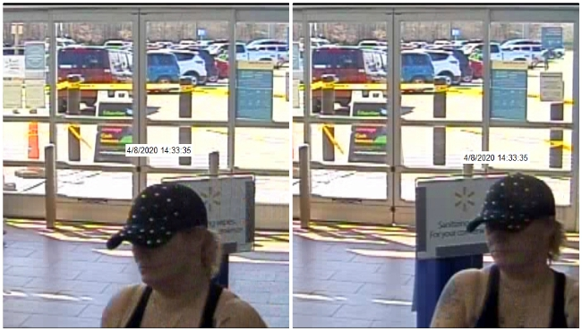Surveillance photos of a woman accused of stealing items from Walmart on April 8, 2020. (Courtesy of the Paw Paw Police Department)