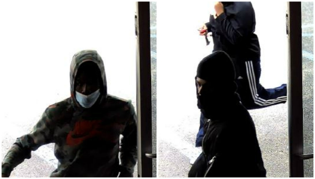 Surveillance photos in a Kalamazoo cellphone store theft on May 21, 2020.