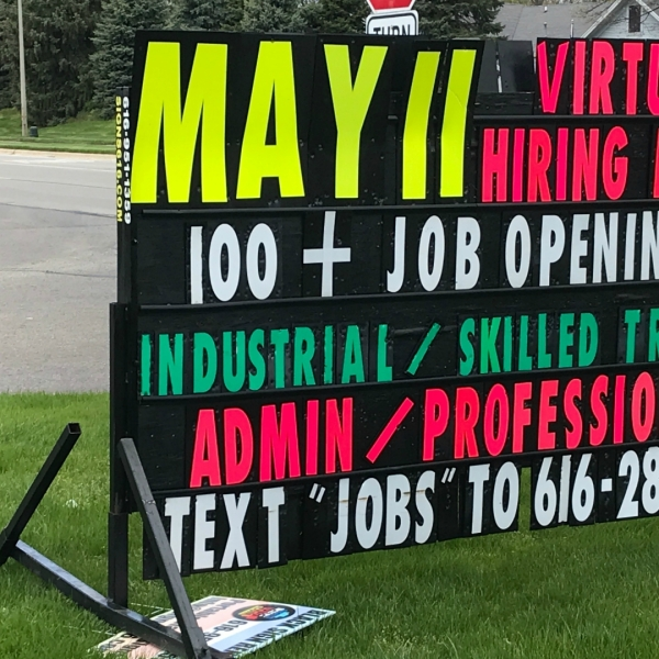 A sign advertising Express Employment Professionals hiring event. (May 8, 2020)