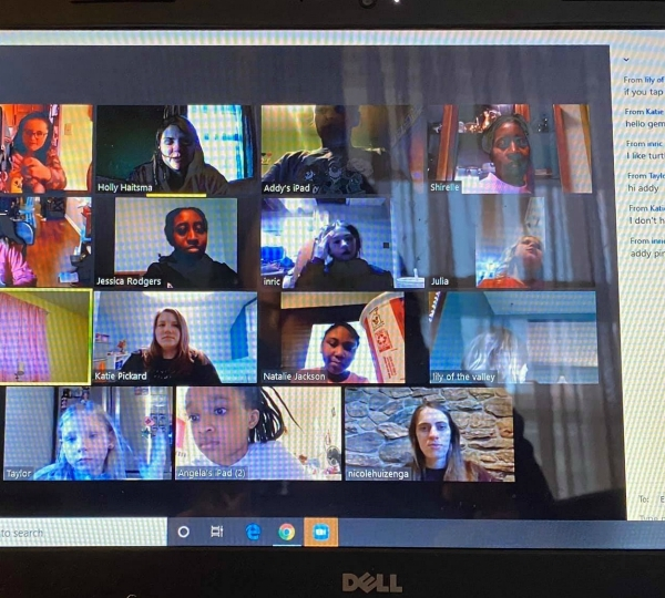 A photo of Zoom call with participants of the GEMS On the Go program. (Courtesy of GEMS Girls' Clubs)