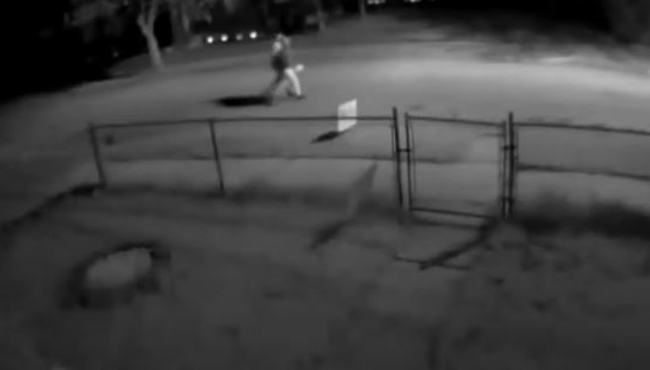 A screenshot of surveillance video taken nearby an arson in Battle Creek on May 8, 2020.