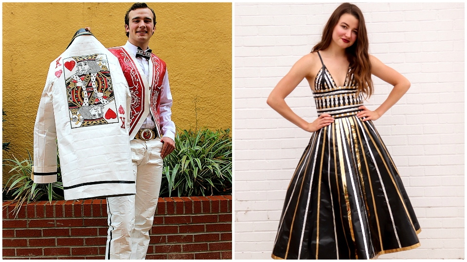 Duct tape dress, tuxedo challenge