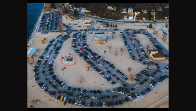 A photo of the parking lots at Grand Haven State Park on Sunday, April 26, 2020.
